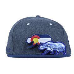 2313d8436e3 Removable Bear Colorado Flag Gray Wool Snapback