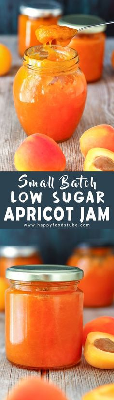 This small batch low sugar apricot jam is made from scratch and is pectin free. Use it as apricot glaze on cakes or simply spread on toast. How to make low sugar apricot jam. via Happy Foods Tube Jelly Recipes, Jam Recipes, Canning Recipes, Fruit Recipes, Beef Recipes, Vegan Recipes, Dessert Recipes, Canning Tips, Cooker Recipes
