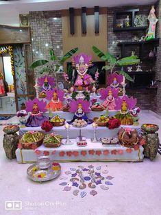 Ideas for varamahalakshmi Wedding Stage Decorations, Backdrop Decorations, Diwali Decorations, Flower Decorations, Art Floral, Gauri Decoration, Ganpati Decoration Design, Housewarming Decorations, Ganapati Decoration