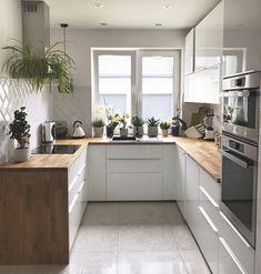 43 veces he visto estas grandes cocinas blancas. Kitchen Room Design, Home Decor Kitchen, Kitchen Furniture, Kitchen Interior, New Kitchen, Home Interior Design, Home Kitchens, Kitchen Sink, Sweet Home