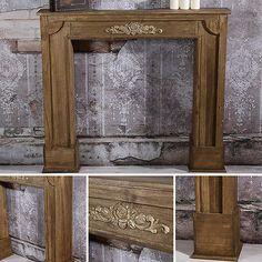 Shabby-Dekokamin-Kaminverkleidung-Holz-Kaminzubehoer-Kaminkonsole-Deko-Attrappe