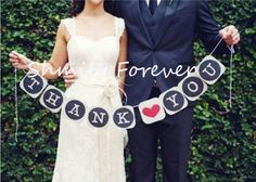 Thank You Wedding Bunting   Banner - Square Letters - Wedding Photo Prop