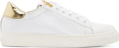 Versus White & Gold Safety Pin Sneakers