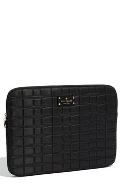 kate spade new york 'signature spade' quilted laptop sleeve