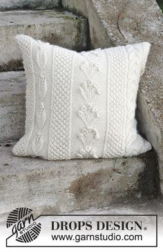 Snow Beads Pillow case with different patterns by DROPS Design Free #knitting pattern