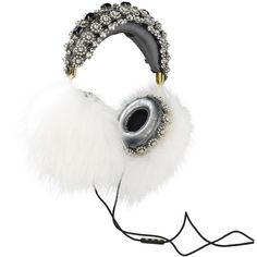 FRENDS x Dolce Gabbana, Embellished Leather Headphones with White Fox... ($7,995) ❤ liked on Polyvore featuring accessories, headphones and dolce&gabbana