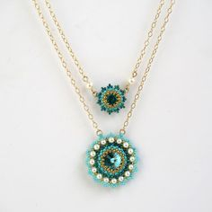 Layered necklace, Layered gold necklace, Swarovski crystal necklace, Turquoise statement necklace, Turquoise gold necklace, Evening necklace