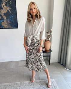 Fall Transition Outfits, Summer Work Outfits, Spring Outfits Women, Simple Outfits, Cool Outfits, Capsule Wardrobe, Leopard Print Outfits, Casual Dresses, Casual Outfits