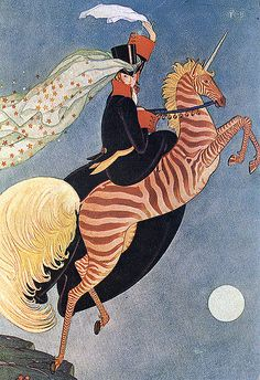 Vintage Deco Illustration--Zebra Unicorn