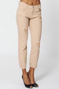 RIPPED DETAIL BEIGE JEANS