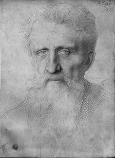 Alphonse Legros , Head of a Man With Long Beard (1898)