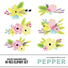 INSTANT DOWNLOAD  Watercolor Flower Bouquets by PepperStudio