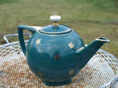Vintage Hall Tea Pot Gold Leaf on Teal. $34.00, via Etsy.