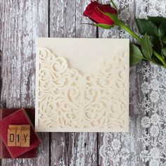 cream laser cut pocket. Blank laser cut invitation wallet. Make your own laser cut wedding invitations and wedding stationery. DIY wedding invitation.