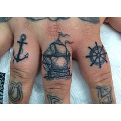 So. Cute. I love this tiny triplet of nautical tattoos!
