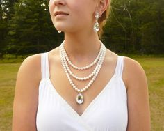 Pearl Bridal Jewelry - Pearl and Rhinestone - Bridal Necklace -  Statement Wedding Necklace - Vintage Style - Chunky Pearl Strand by LilykayCouture on Etsy https://www.etsy.com/listing/159296117/pearl-bridal-jewelry-pearl-and