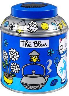 keladeco.com - boîte à #the en vrac chat t'es bleu, idée deco cuisine, boite à thé valérie nylin, boite derriere la porte - DLP