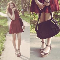 Red sequins  (by Higinia ♥) http://lookbook.nu/look/3849518-Red-sequins-Cromia-Bag-River-Island-Sandals