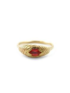 Cultivated padparadscha sapphire engagement ring in 14 karat yellow gold Sharon Z Jewelry by Sharon Zimmerman Made in San Francisco, California