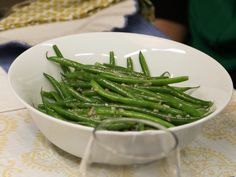 Tom's Green Beans with Shallots recipe from Valerie Bertinelli she dressed them warm & put them in the fridge she said they are better the next day