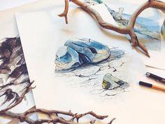 """#watercolor #sketch #VSCOcam тренируюсь на камнях:)"""