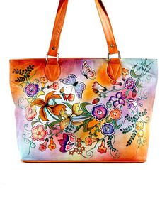 Look what I found on #zulily! Orange Ombré Hand-Painted Leather Tote by Biacci #zulilyfinds $99.99