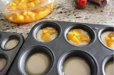 Mini Peach Cobbler Recipe:    Preheat oven to 350˚F.    You will need:  1 cup sugar  1 cup flour  2 tsp baking powder  a dash of salt  3/4 cup milk  1 stick of melted butter  brown sugar  cinnamon  1 can diced peaches  Put 1 tsp of melted butter into each regular size muffin tin.
