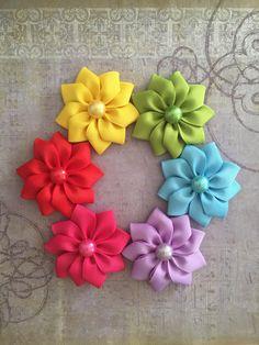 Ribbon flowers grab bag,ribbon flowers 5 pcs,crafting flowers,big ribbon flowers,pick your color,flowers for crafting,flowers for diy by LilVeniceBowtique on Etsy