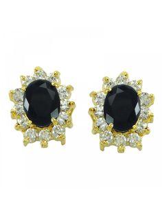 c6f79907e Indian Two Tone AD Onyx Stone Stud Earring Set Traditional Designer  Jewellery