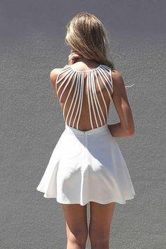 Little White Dresses Glamsugar.com White Sleeveless Dress with Lattice Open Back