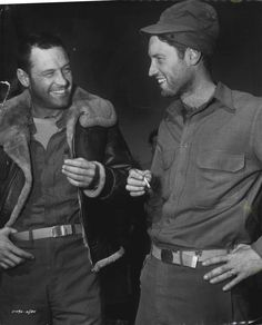 """William Holden and his brother Richard Beedle on the set of """"Stalag 17"""" (1953)."""