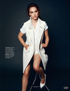 Natalie Portman wearing a sleeveless white wool vest by Chloe and Stella McCartney heels for ELLE UK