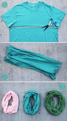 DIY Scarf - Lifestyle, Style Today's DIY scarf is a total no-brainer and it won't cost you a single cent. Gather up some old t-shirts, grab your scissors, and let's get to it! Sewing Hacks, Sewing Crafts, Sewing Projects, Sewing Diy, Sock Crafts, Upcycled Crafts, Fabric Crafts, Diy Crafts, Old Clothes