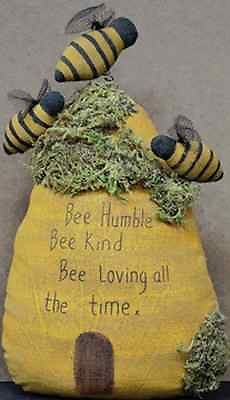 PRIMITIVE BEE HUMBLE STUFFED BEEHIVE Country Moss Dolls Everyday Decor