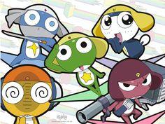 Keroro (green), Giroro (redish) Dororo (lt. blue), Kululu (yellow), Tamama (drk blue)  Sgt. Frog/Keroro Gunso