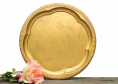 Vintage Gold Wedding Table Centerpiece - Favors Programs Cards Holder - Antique Gold Style Tray