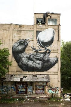 This Avian Piece is Another in the Amazing Collection of 'Roa' Street Art #streetart trendhunter.com
