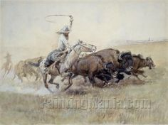 Pablo's Buffalo Hunt by Charles Marion Russell