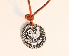 Rooster Pendant Fine Silver Medallion on by codysanantonio on Etsy, $60.00