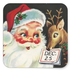 Vintage Santa Claus With Reindeer On Square Sticker - christmas stickers xmas eve custom holiday merry christmas Vintage Christmas Cards, Christmas Art, Christmas Greetings, Vintage Cards, Christmas Wreaths, Christmas Decorations, Christmas Ornaments, Christmas Ideas, Christmas Paintings