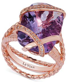 LOOOOOOVE IT!!! Le Vian Amethyst (10-3/4 ct. t.w.) and Diamond (1/6 ct. t.w.) Wrap Ring in 14k Rose Gold
