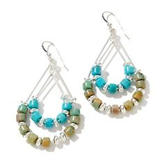Jay King Blue and Green Anhui Turquoise Drop Earrings at HSN.com.