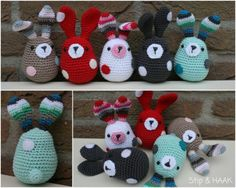 Free Crochet Pattern: Amigurumi Bunny Rabbit - I used Chrome to translate and v = sc. Crochet Diy, Crochet Amigurumi, Crochet Bunny, Amigurumi Patterns, Crochet Crafts, Crochet Dolls, Crochet Projects, Knitted Bunnies, Crochet Animals