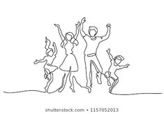 Continuous one line drawing. Happy family mother and father dancing with children. Concept for logo, card, banner, poster, flyer Stock Vector - 111975292 Family Tattoo Designs, Family Tattoos, Family Drawing, Drawing For Kids, Family Illustration, Illustration Art, Abstract Drawings, Art Drawings, Continuous Line Drawing