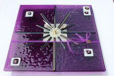 reloj de vidrio fundido, starburst púrpura reloj vidrio fundido, iridiscente, brilla regalos púrpura, vidrio fundido
