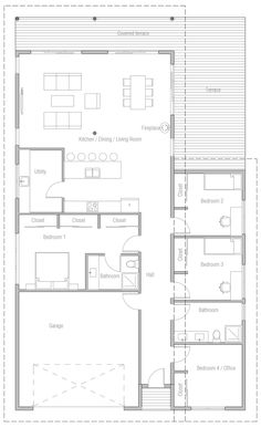 Home Plan Modern House Plan to Modern Family. One Level House Plans, Four Bedroom House Plans, Small House Floor Plans, My House Plans, Modern House Plans, Quonset Homes, Beautiful House Plans, Architectural House Plans, Container House Plans