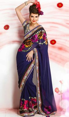 Blue Digital Printed Embroidered Saree Price: Usa Dollar $167, British UK Pound £98, Euro123, Canada CA$181 , Indian Rs9018.