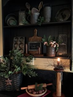 Antique tinware displayed for Christmas <3