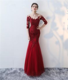 long prom dresses - Off the Shoulder Burgundy Appliqued Mermaid Prom Dress with Half Length Sleeves Formal Dresses With Sleeves, Evening Dresses With Sleeves, Mermaid Prom Dresses Lace, Dress Link, Beautiful Prom Dresses, Classy Prom Dresses, The Dress, Dress Red, Red Lace Gown