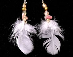 OOAK, pure white feather earrings strung on sterling silver wire